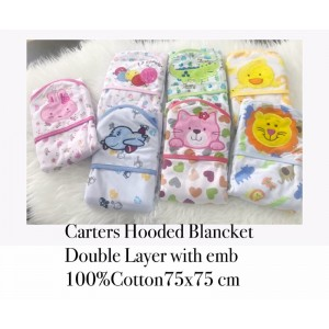Carters Hooded Blanket(Double Layer With Emb)