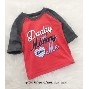 3QUARTER TOP - Red Daddy And Mommy LOVE Me