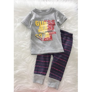 Baby Pajamas-Grey Guess With Stripe Pant