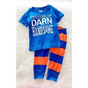 Baby Pajamas-Royal Blue Darn Handsome With Stripe Pant