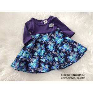 #1536 BABY KURUNG DRESS ~ Purple Flower