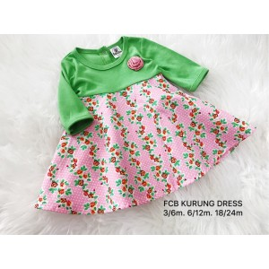 #1536 BABY KURUNG DRESS ~ Apple Green W/Pink Flower