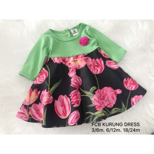 #1536 BABY KURUNG DRESS ~ Green Black With Tulips