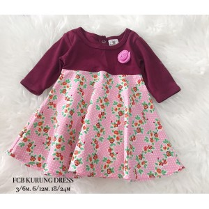 #1536 BABY KURUNG DRESS ~ Maroon Soft Pink Ditsy