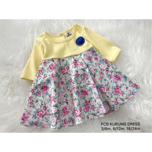#1536 BABY KURUNG DRESS ~ Lemon Cream Floral