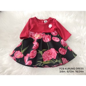 #1536 BABY KURUNG DRESS ~ Red Pink Rose