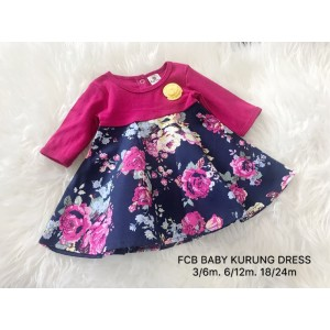 #1536 BABY KURUNG DRESS ~ Dark Pink with Navy Flower