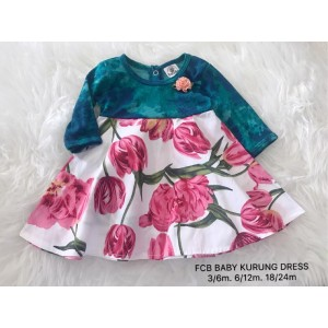 #1536 BABY KURUNG DRESS ~ Green with Tulip