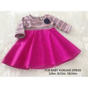 #1536 BABY KURUNG DRESS ~ Little Stripe Pink with Polkadot Pink