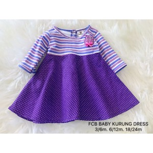 #1536 BABY KURUNG DRESS ~  Stripe Purple with Polkadot Purple