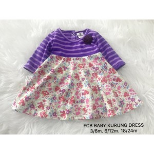 #1536 BABY KURUNG DRESS ~  Stripe Purple with Small Flower