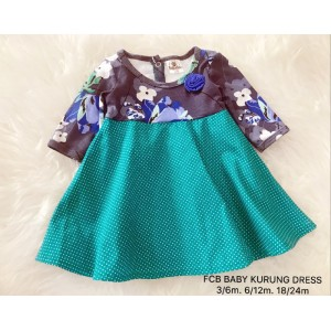 #1536 BABY KURUNG DRESS ~  Grey with Polkadot Green