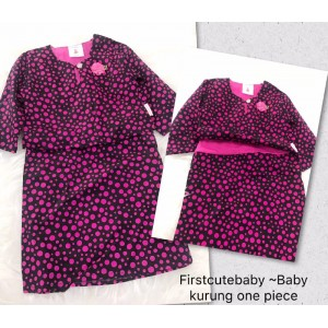 First Cute Baby English Cotton Baby Kurung One Piece - Black Pink Polkadot