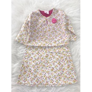 First Cute Baby English Cotton Baby Kurung One Piece- Cream Floral