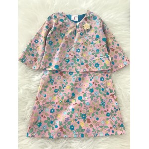 First Cute Baby English Cotton Baby Kurung One Piece-Pink Flowers