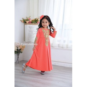#32182 Firstcutebaby Golden Crochet Lace Jubah - Peach