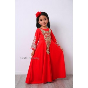 #32182 Firstcutebaby Golden Crochet Lace Jubah - Watermelon