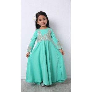 #32181 Firstcutebaby Silver Crochet Lace Jubah - Turquoise