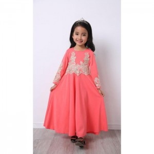 #32181 Firstcutebaby Silver Crochet Lace Jubah - Peach