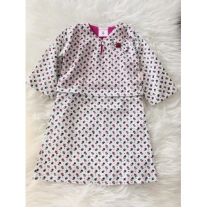 First Cute Baby English Cotton Baby Kurung One Piece- Small Flower Pink