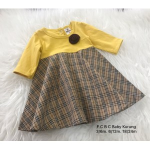 #1536 BABY KURUNG DRESS ~ Yellow with Checker