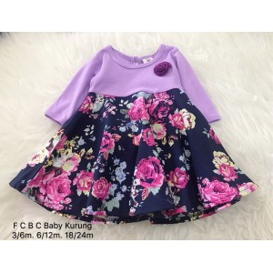 #1536 BABY KURUNG DRESS ~ Light Purple with Roses