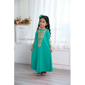 #32182 Firstcutebaby Golden Crochet Lace Jubah - Turq