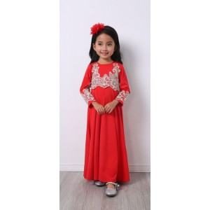 #32181 Firstcutebaby Silver Crochet Lace Jubah - Red