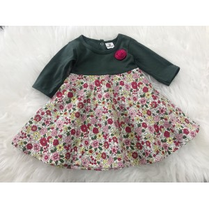 #1536 BABY KURUNG DRESS ~ Dark Green with Floral Dress
