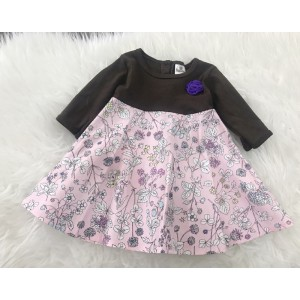 #1536 BABY KURUNG DRESS ~ Dark Brown with Floral Dress