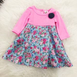 #1536 BABY KURUNG DRESS ~ Pink With Blue Little Floral