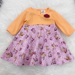 #1536 BABY KURUNG DRESS ~Orange With Pink Little Floral