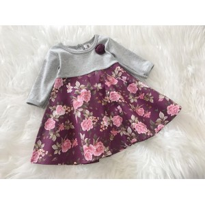 #1536 BABY KURUNG DRESS ~ Grey Brown Vintage Rose