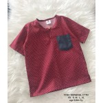 Kurta English Cotton - Burgundy Polkadot with Dark Grey Pocket