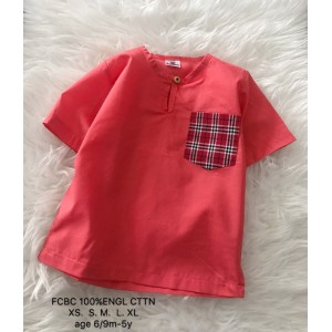 Kurta English Cotton - Watermelon with Red Checker Pocket