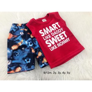 Singlet Boy Set -Red Smart With Ball Pant
