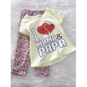 Girl Set -Light Yellow I Love papa mama with leopard pant