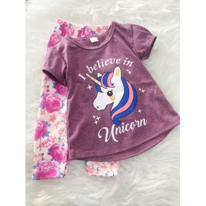 Girl Set -Lavender Purple Unicorn With Pink Rose Pant