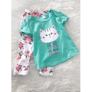 Girl Set -Mint Green Kitten With Pink Rose Pant
