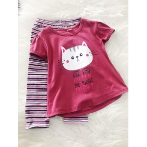 Girl Set -Hibiscus Red Kitten With Stripe Pant