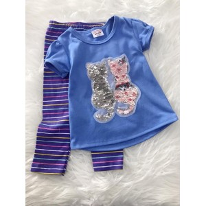 Girl Set -Sequeen Double Cat With Rainbow Stripe Pant