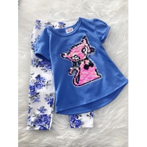 Girl Set -Sequeen Pink Cat  With Blue Rose Pant
