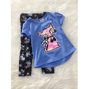 Girl Set -Sequeen Pink Cat  With Black Flower Pant