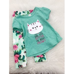 Girl Set -Mint Cat With Green Floral Pant