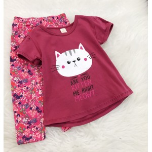 Girl Set -Red Cat With Pink Pant