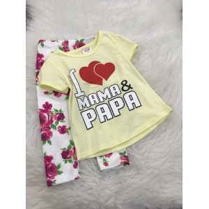 Girl Set -Yellow I Love Mama Papa With Red Rose Pant