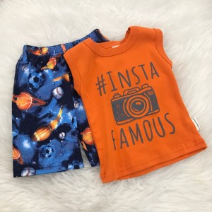 Singlet Boy Set -Orange Insta With Blue Ball Pant