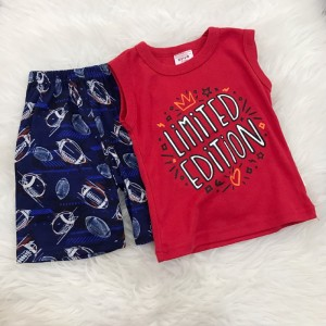 Singlet Boy Set -Red Limited With Navy Blue Pant