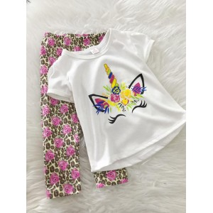 Girl Set -White Unicorn With Leopard pant