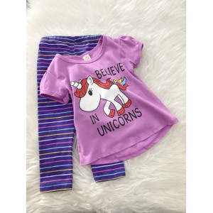 Girl Set -Purple Believe In Unicorn With Stripe Pant